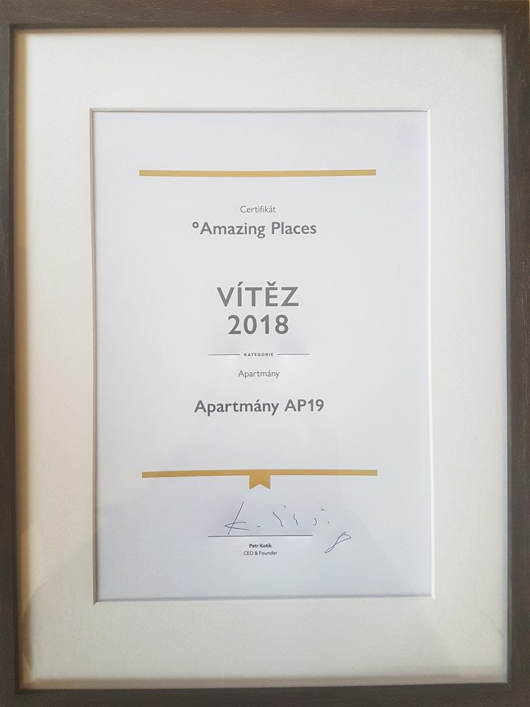 We were awarded as the most amazing place in the category Apartments for year 2018